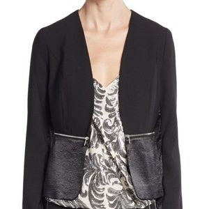 1. State Mixed Media Open Front Zippered Blazer